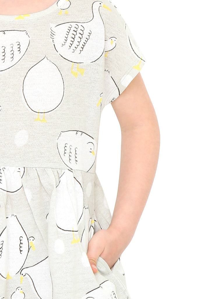Multi Pattern Waist Gather Short Sleeve One-Piece (Ducks)
