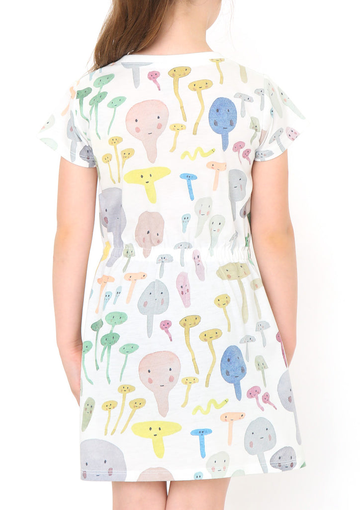 Jenni Rope Waist Gather Short Sleeve One-Piece (Jenni Rope_Friends of the Forest Pattern)