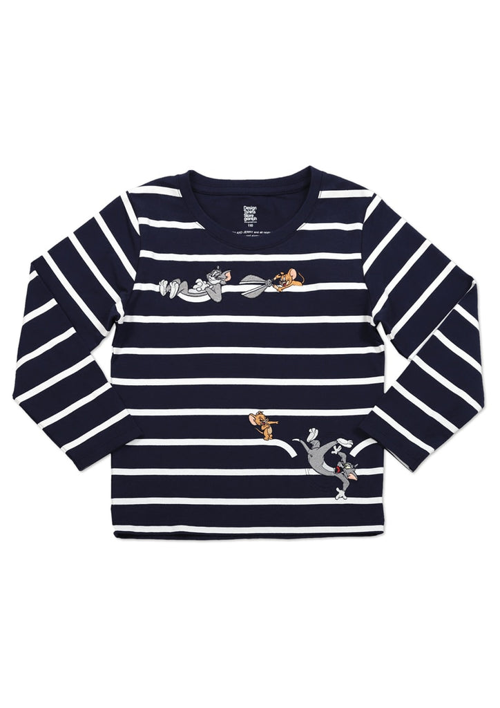 Tom and Jerry Border Long Sleeve Tee (Tom and Jerry_Scissors)
