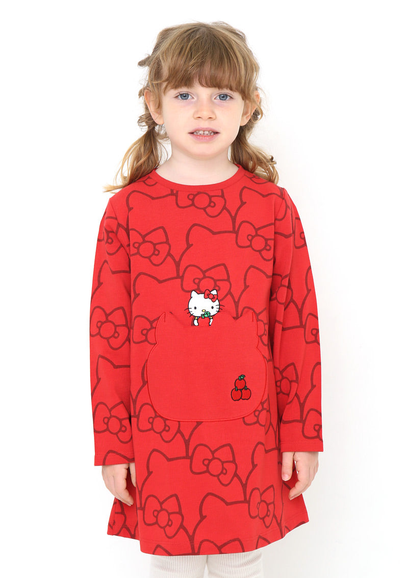 Sanrio characters Long Sleeve One-Piece (Sanrio characters_Hello Kitty Silhouette Pattern)