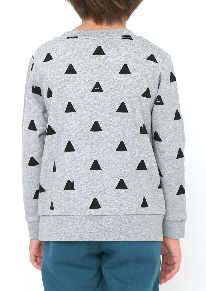 Multi Pattern Long Sleeve Sweat (Mountain Pocket BS)
