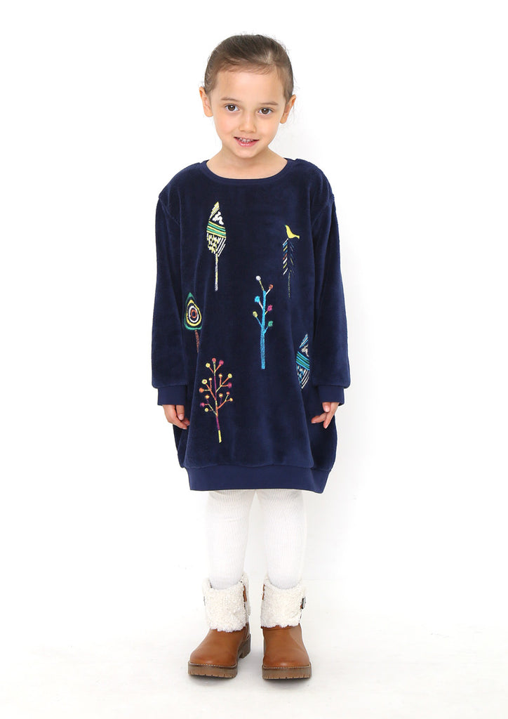 Boa Fleece Long Sleeve One-Piece (Doodled Forest)