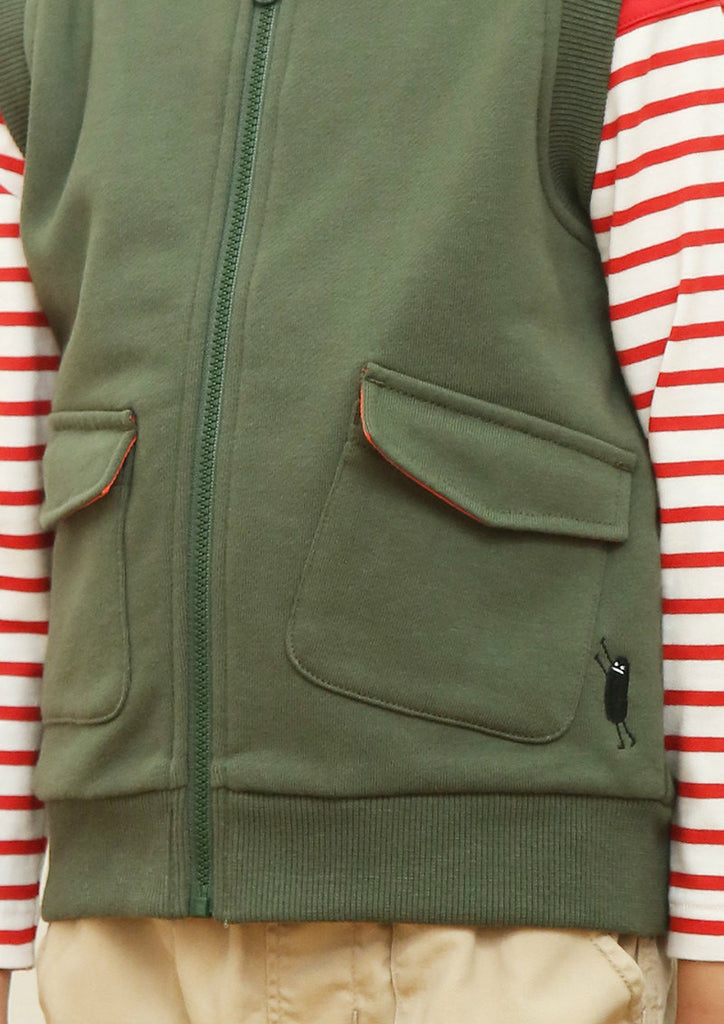 Embroidery Zip Vest (Push The Pocket BS)