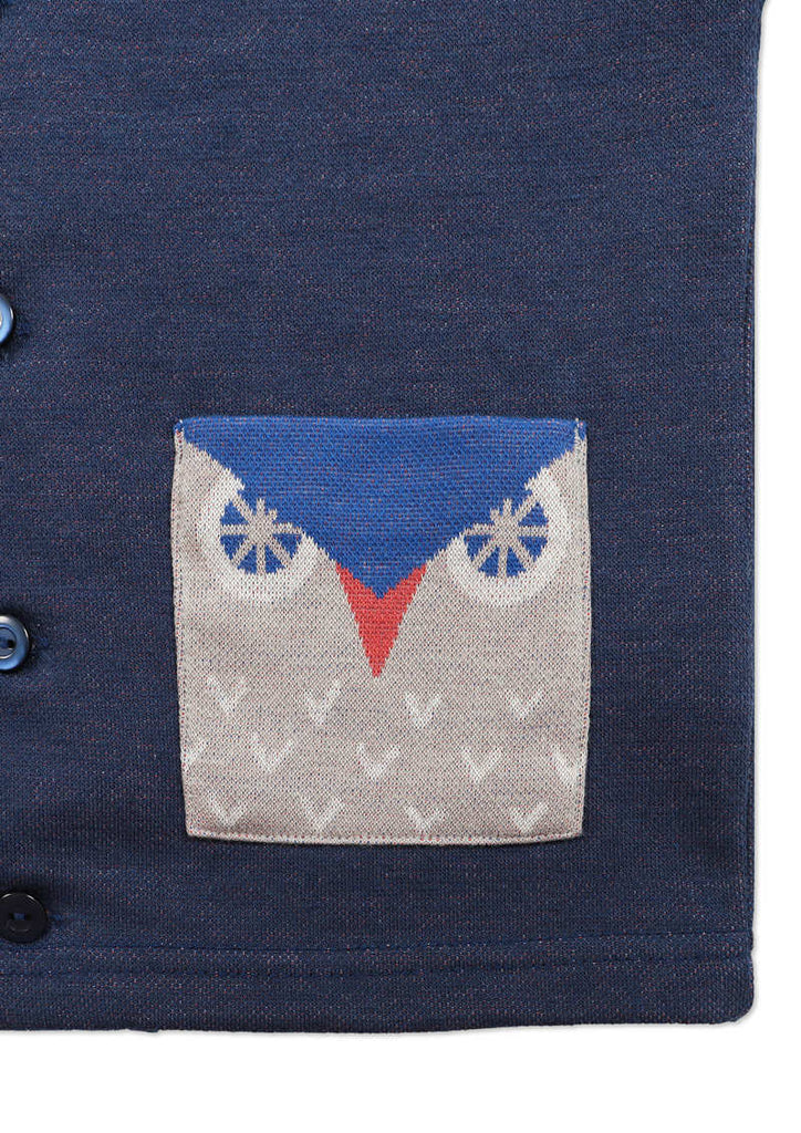 Jersey Jacquard Long Sleeve Cardigan (Square Owl)