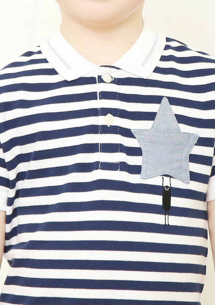 Multi Blue Color Short Sleeve Polo Shirt (BS with Star)