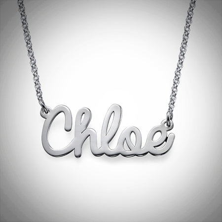 Cursive Name Necklace (Sterling Silver)- Assorted Colours