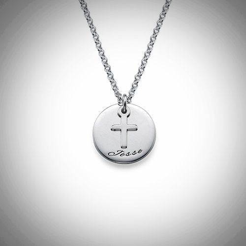 Disc Necklace with Cross (Sterling Silver)