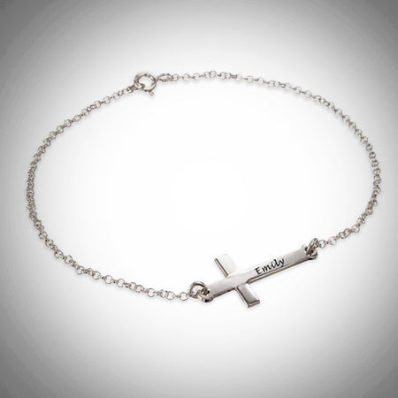 Horizontal Cross Name Bracelet  (Sterling Silver)- Custom