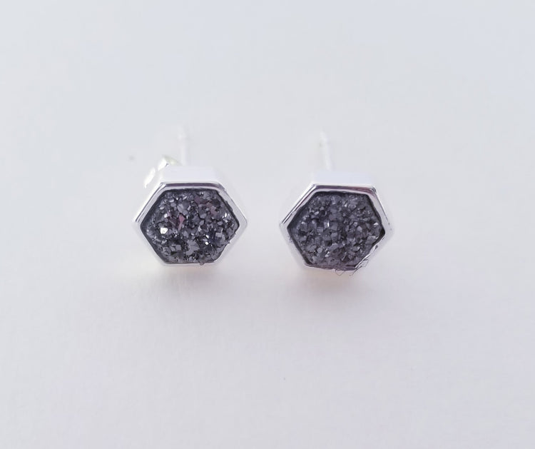 Hexagon Stud Silver Agate- Silver