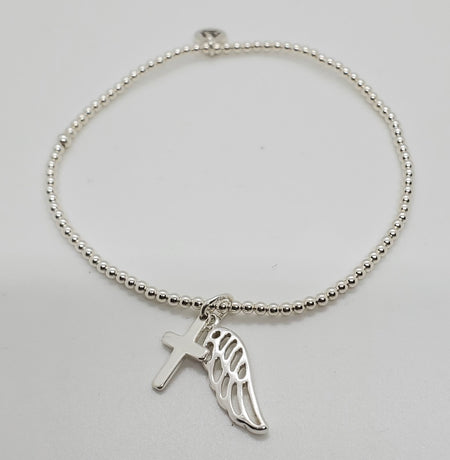 Stretch Bracelet with Cross and Wing Charm
