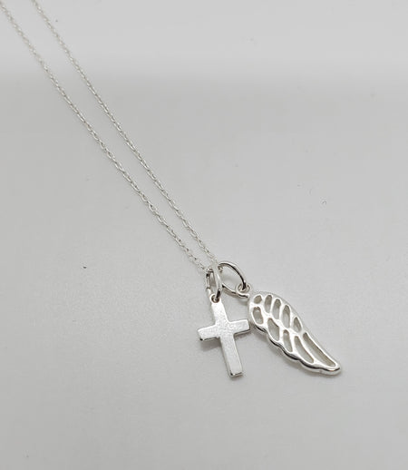 Necklace with Cross and Wing