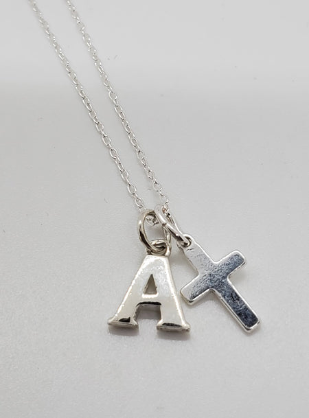 Initial Necklace with Cross