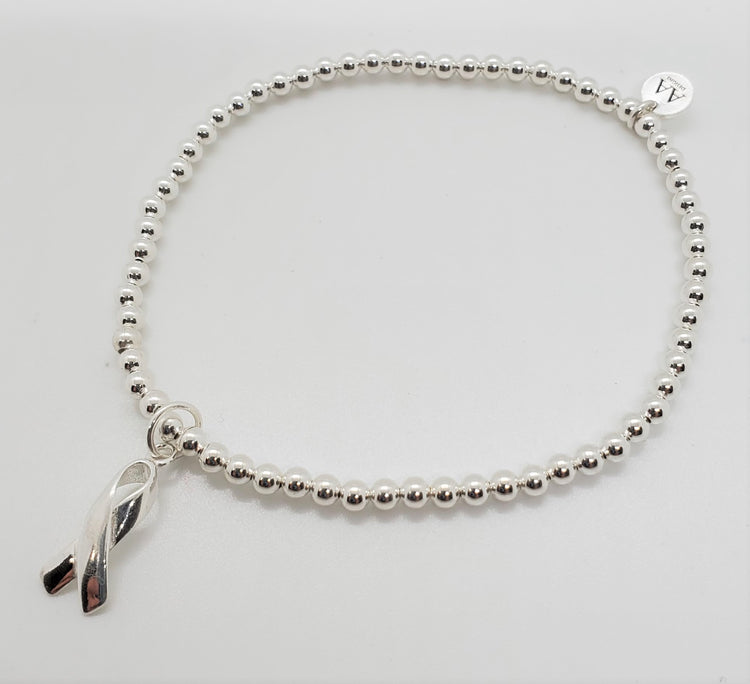 Stretch Bracelet with Cancer Ribbon