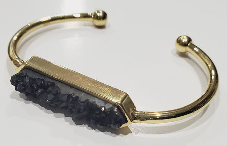 Bangle - Black Druzy Agate- Gold