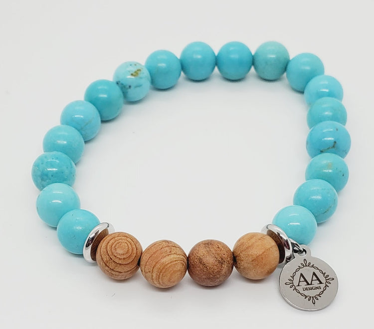 Carmen (Turquoise Howlite with Wood)