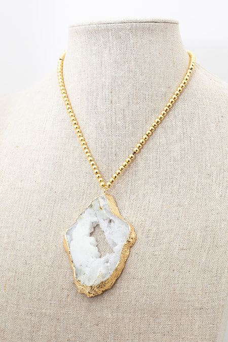 Gold Extender Necklace - Druzy Agate Pendant