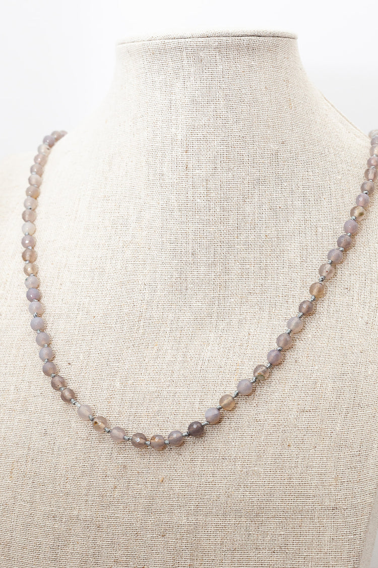 Grey Agate Faceted Necklace