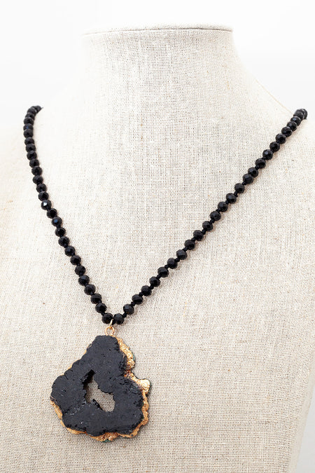 Black Agate Faceted Necklace with Druzy Agate