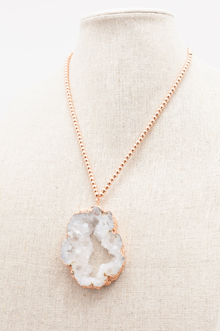 Rose Gold Extender Necklace - Druzy Agate Pendant