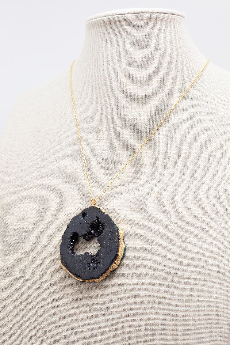 Gold Necklace Black Druzy Agate