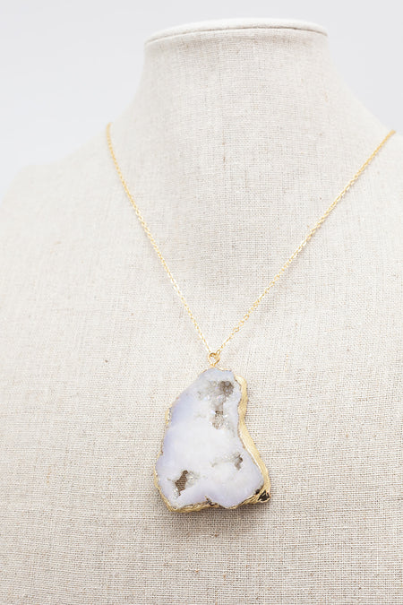 Gold Necklace White Druzy Agate
