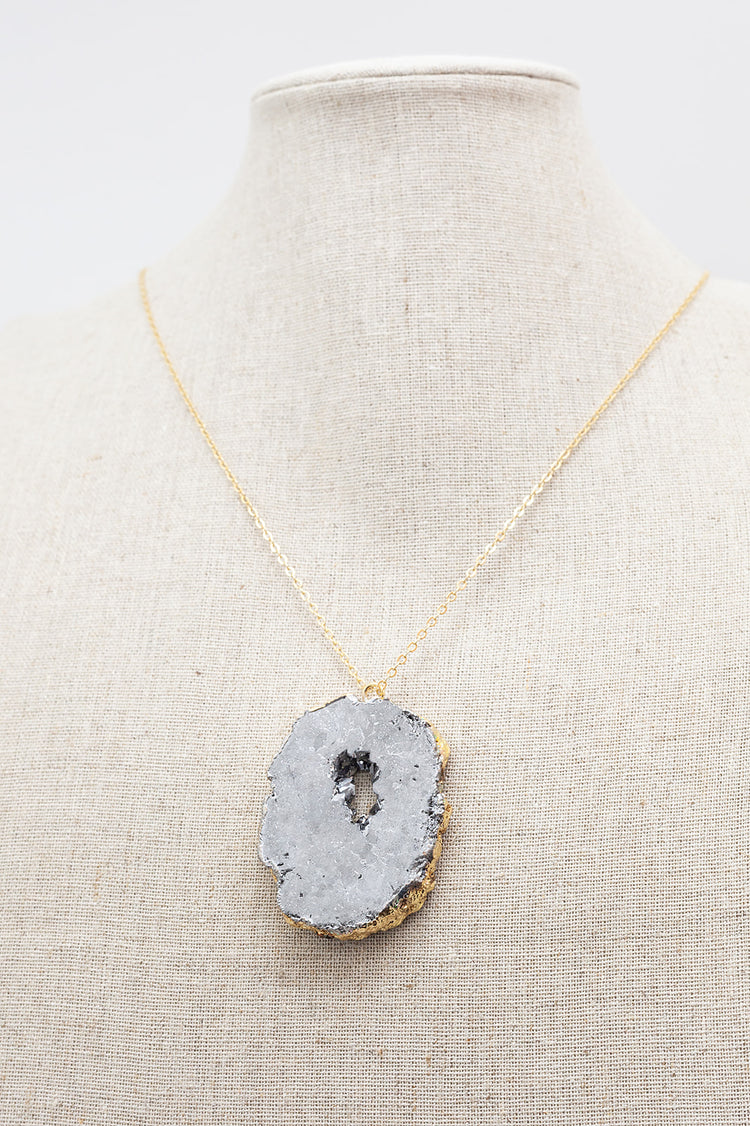 Gold Necklace Silver Druzy Agate