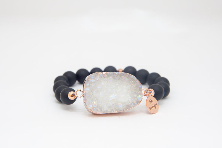 Onyx Frosted, White Druzy Agate Pendant- Rose Gold