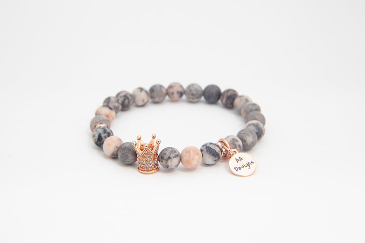 Royal Pink Zebra Jasper - Rose Gold
