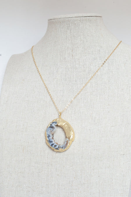 Gold Necklace Grey Druzy Agate