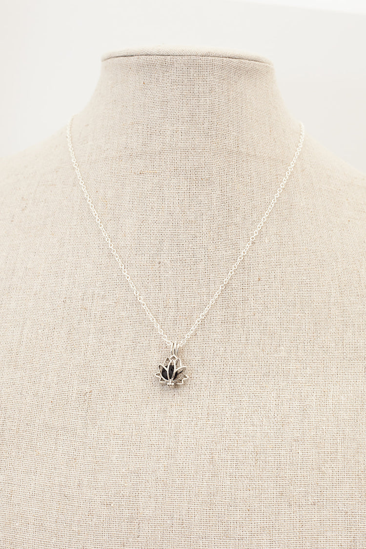Lotus Diffuser Necklace- Silver