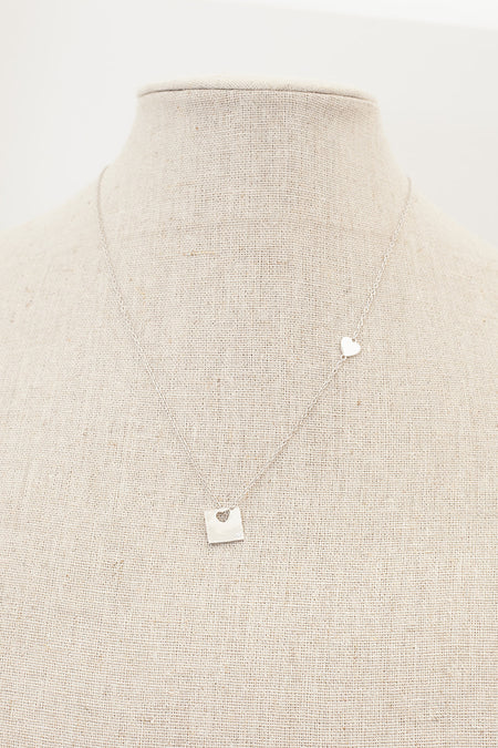 Heart and Square Necklace