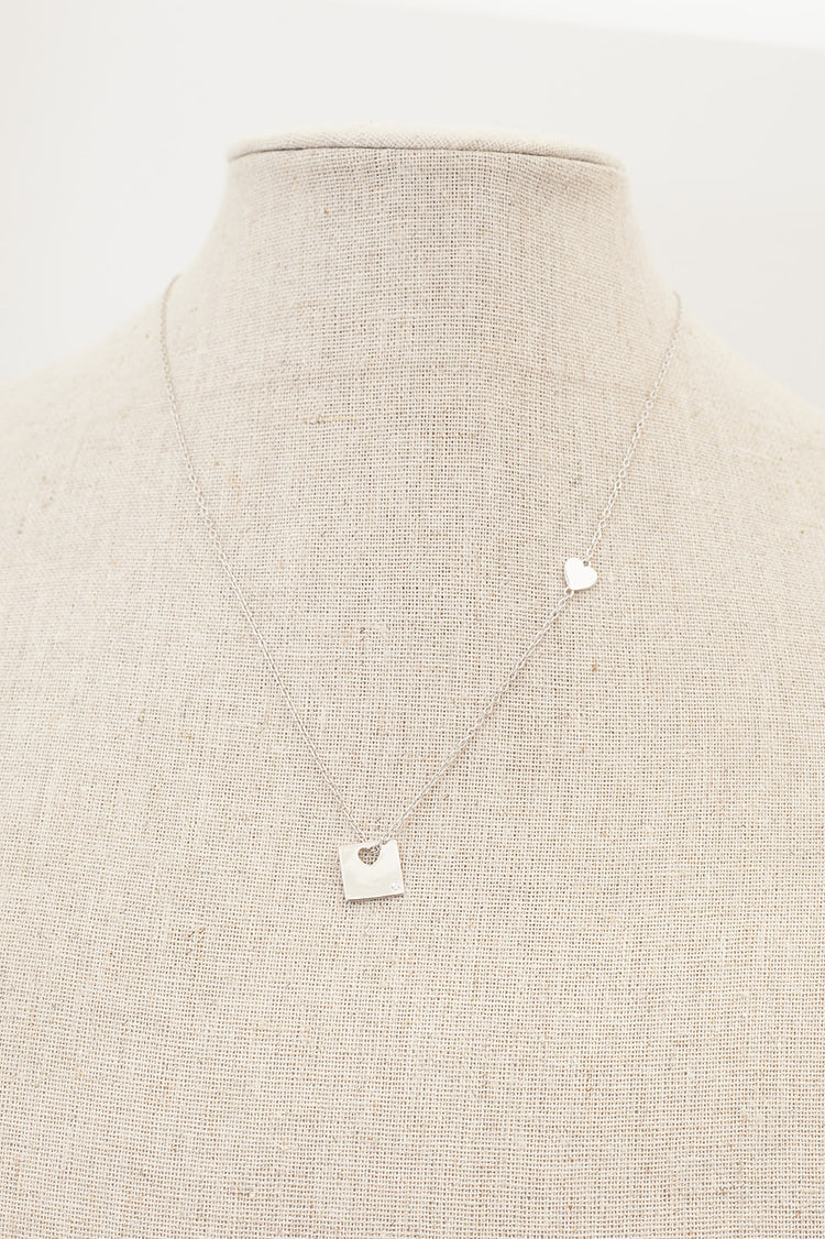 Silver Necklace, Heart and Square Pendant