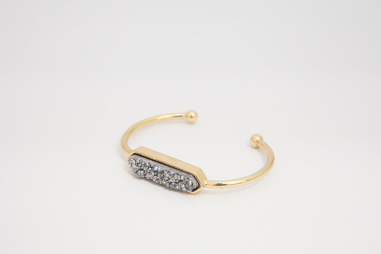 Bangle - Silver Druzy Agate- Gold