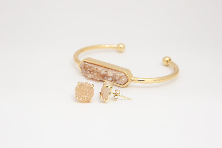 Bangle and Studs - Champagne Druzy Agate- Gold