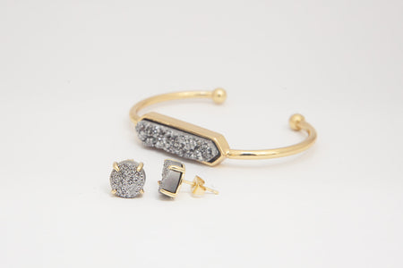 Bangle and Studs - Silver Druzy Agate- Gold