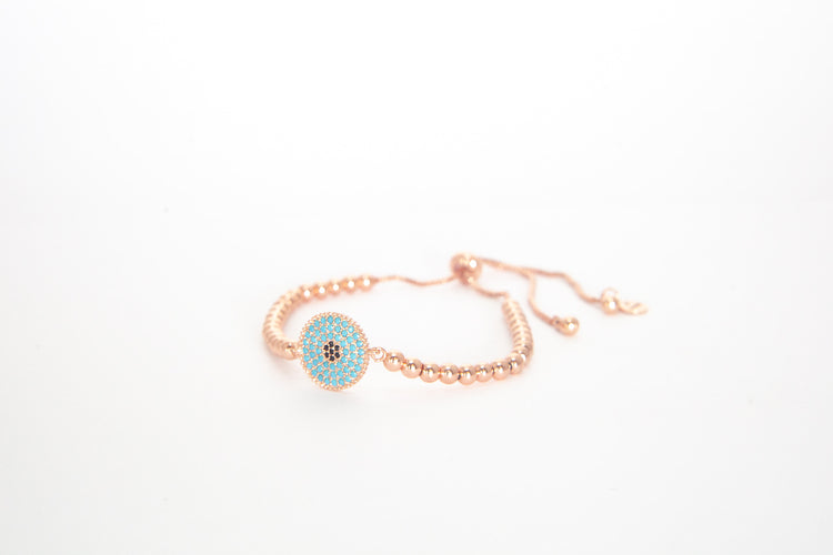 Rose Gold Extender - Round Evil Eye