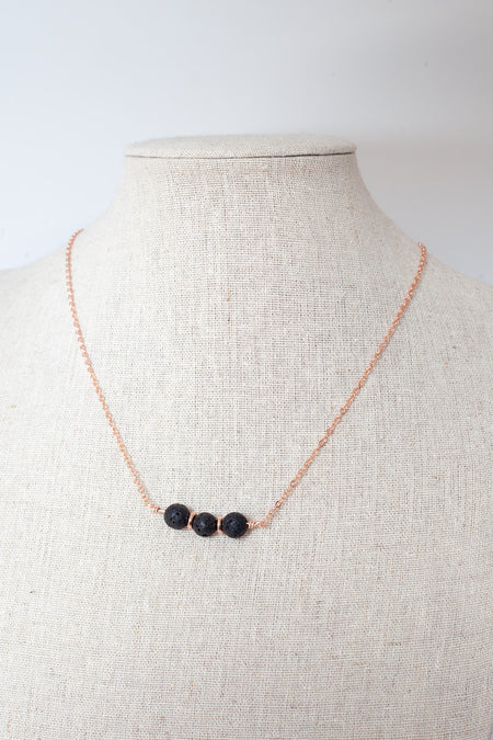 Lava Diffuser Necklace- Rose Gold