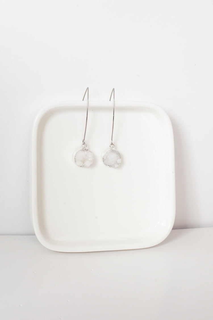 Agate Earrings- Silver