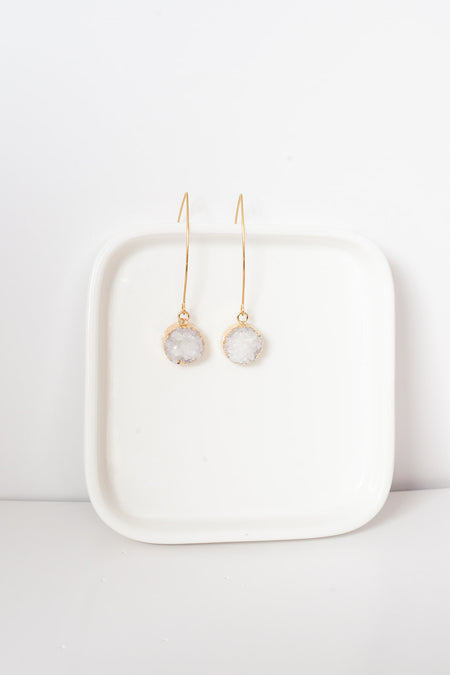 Agate Earrings- Gold