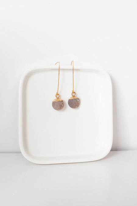 Agate Ball Earrings- Gold