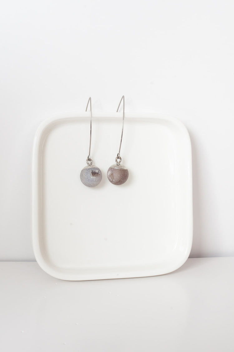 Agate Ball Earrings- Silver