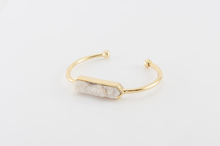 Bangle - White Druzy Agate- Gold