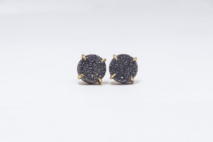 Claw Stud Silver Agate- Gold
