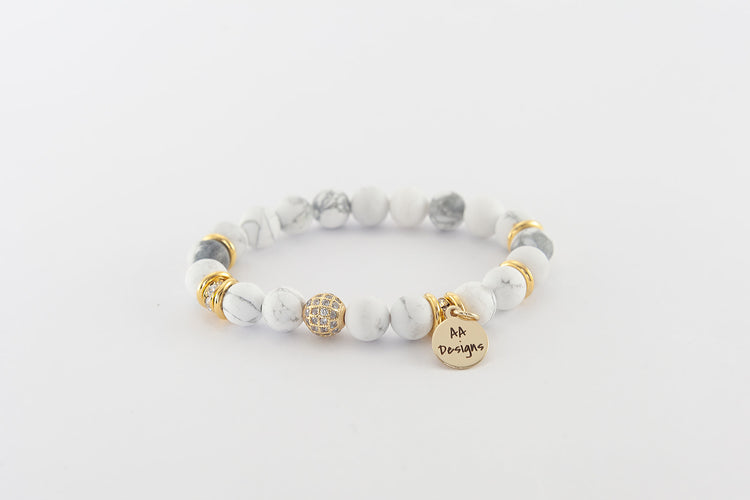Howlite White - Gold