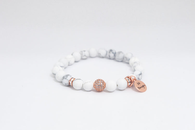 Howlite White- Rose Gold