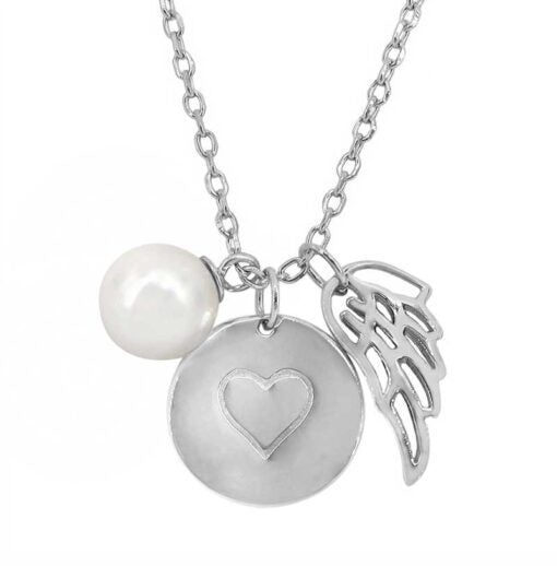 Wing, Heart, Pearl Necklace