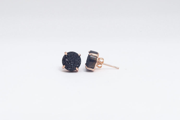 Claw Stud Black Agate- Rose Gold