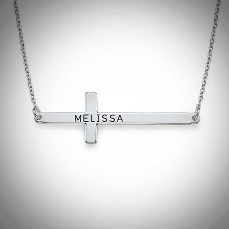 Horizontal Cross Name Necklace (Sterling Silver)- Assorted Colours
