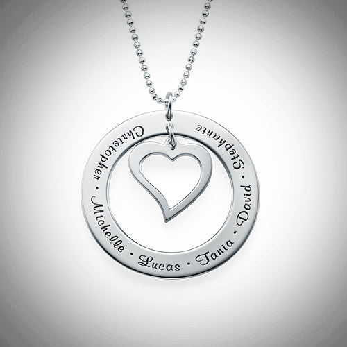 Open Circle Necklace with Heart (Sterling Silver)