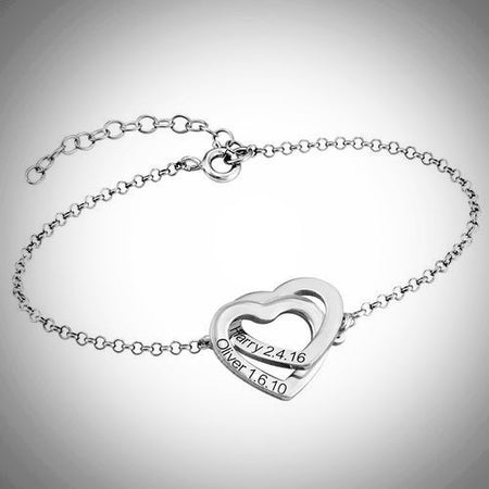 Interlocking Adjustable Hearts Bracelet (Sterling Silver)